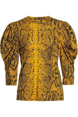 Proenza Schouler Women T-shirts - Women's Snakeskin-Print Puff-Sleeve T-Shirt - Multi - Size Large