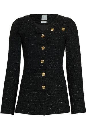 ST. JOHN Women's Tonal Sequin Tweed Knit Asymmetrical Collar Jacket - - Size 4