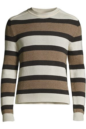 ISAIA Men Tops - Men's Striped Cotton Sweater - Open - Size Small