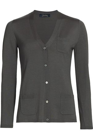 Max Mara Women's Erice V-Neck Pocket Cardigan - Grey - Size XL