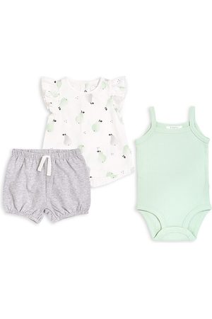 FIRSTS by petit lem Baby Girl's Pears 3-Piece Top, Bodysuit & Shorts Set - Off - Size 12 Months