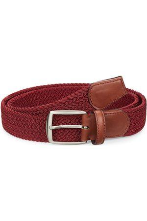 Saks Fifth Avenue Men's COLLECTION Woven Leather & Cotton Belt - Burgundy - Size 36