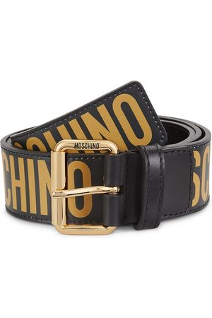 Moschino Men Belts - Men's Logo-Embossed Leather Belt - 1 - Size 36