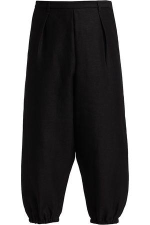 Saint Laurent Men's Hakama Linen & Cotton Pleated Baggy Trouser Joggers - Noir - Size 42