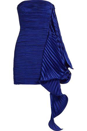 AMUR Women's Pleated Ruffle Satin Strapless Mini Dress - Violet Cobalt - Size 0