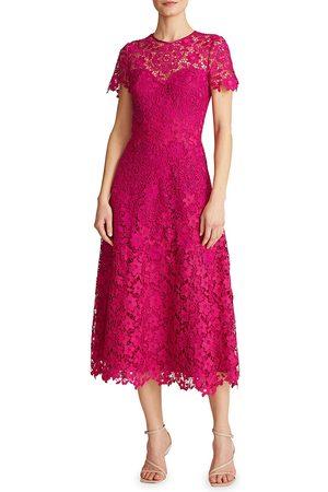 THEIA Women Midi Dresses - Women's Lace A-Line Midi Dress - Orchid - Size 10
