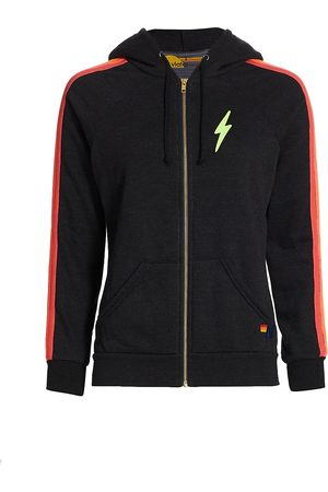 AVIATOR NATION Women's Striped Bolt Zip-Up Hoodie - Neon - Size Large