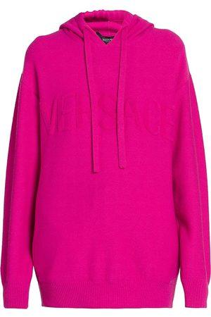 VERSACE Women's Tonal Logo Wool & Cashmere Hoodie - Fuchsia - Size 10
