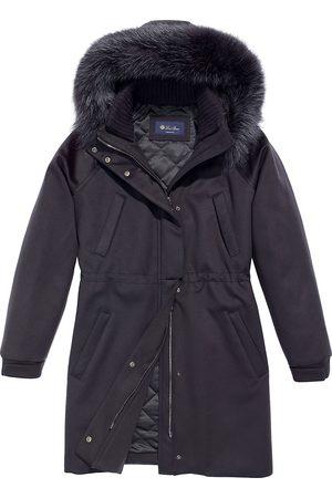 Loro Piana Women's Icery Fox Fur-Trim Hooded Cashmere Parka - Navy - Size 4