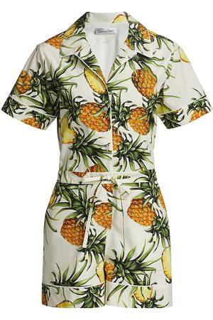 Oscar de la Renta Women's Pineapple-Print Romper - Ivory Multi - Size 4
