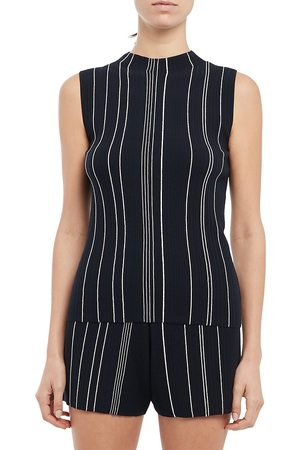 THEORY Women's Hankson Striped Shell - Deep Navy - Size Large