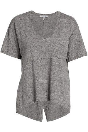 Frame Women's Deep-V Pocket T-Shirt - Grey Heather - Size Small