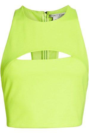 ALICE+OLIVIA Women's Floria Cutout Crop Tank - Neon Key Lime - Size Large