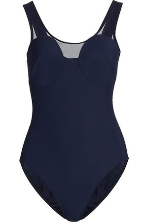 Karla Colletto Women's Clara Scoopneck One-Piece Swimsuit - Navy - Size 14