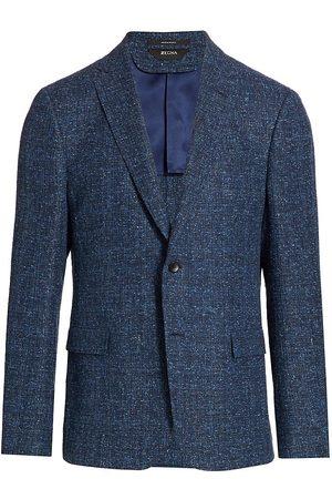 Z Zegna Men Blazers - Men's Textured Knit Sportscoat - Navy - Size 46
