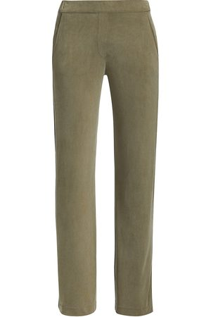 Majestic Women's Straight Stretch Pants - Khaki - Size Medium