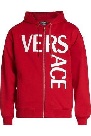VERSACE Men's Logo Zip Hoodie - Scarlet - Size Large