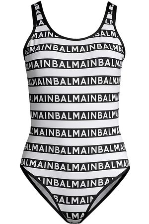 Balmain Women's Olimpionic Stripe Logo One-Piece Swimsuit - - Size 6