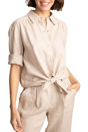 Trina Turk Women's Unwind Button-Up Linen Shirt - Flax - Size Small