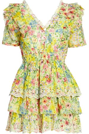 LOVESHACKFANCY Women's Aldina Ditsy Floral Ruffle Mini Dress - Rainbow Skies - Size Large