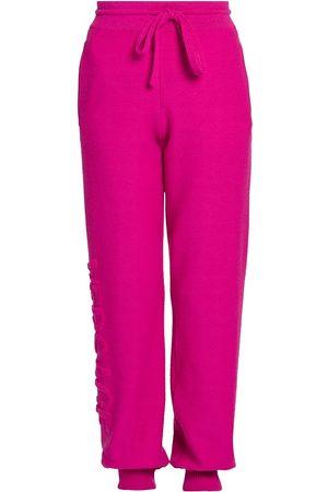 VERSACE Women's Tonal Logo Wool & Cashmere Joggers - Fuchsia - Size 12