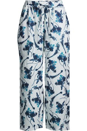 120% Lino 120% Lino Women's Floral-Print Drawstring Cropped Linen Pants - Ice - Size Small