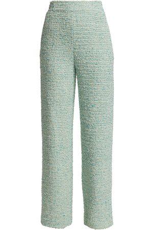 ST. JOHN Women's Eyelash Slub Tweed Knit Pants - Aqua Multi - Size Medium