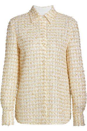 ST. JOHN Women's Transparent Textural Eyelash Knit Blouse - Ecru Multi - Size 4