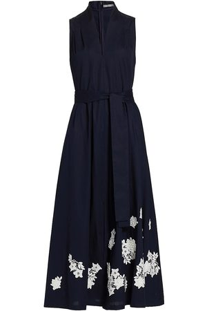 LELA ROSE Women's Floral Applique Cotton Midi Dress - Navy - Size 6