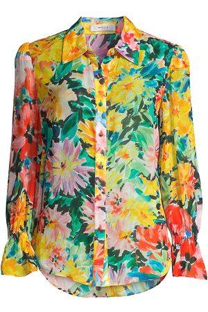 Milly Women's Lacey Garden Floral Silk Chiffon Blouse - Size XS