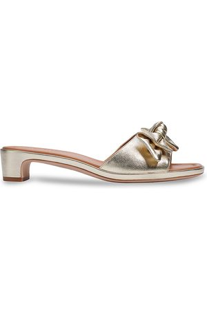 Kate Spade Women's Lilah Bow Metallic Leather Sandals - Pale - Size 9