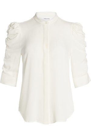Frame Women's Shirred-Sleeve Silk Shirt - Off - Size Medium