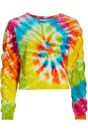 Juicy Couture Women's Tie-Dye Ruched-Sleeve Pullover - Spiral Combo - Size Medium