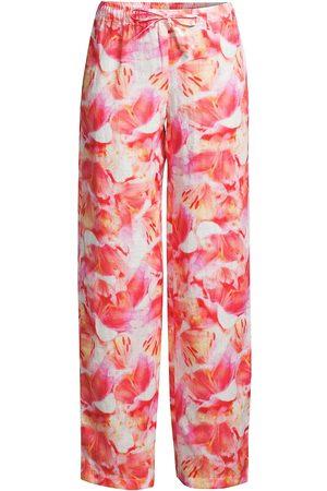 120% Lino 120% Lino Women's Flower-Print Linen Drawstring Pants - Flower - Size Large