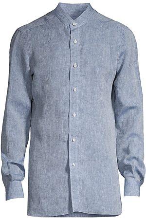 ISAIA Men Tops - Men's Banded-Collar Linen Sport Shirt - Navy - Size 18.5