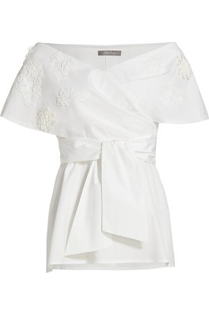LELA ROSE Women's Floral Applique Off-The-Shoulder Poplin Top - - Size 6