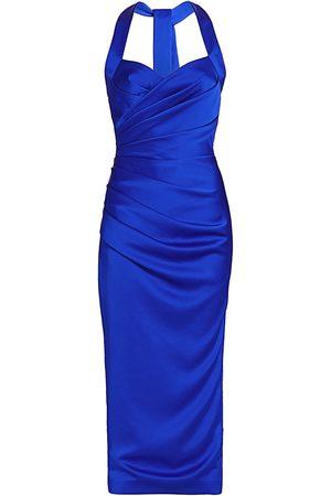 Rasario Women Halterneck Dresses - Women's Draped Satin Halter Midi Dress - Cobalt - Size 10
