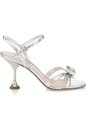 Miu Miu Women's Metallic Leather Bow Sandals - Argento - Size 9.5