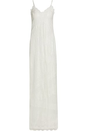 THEIA Women Casual Dresses - Women's Camila Sequin Slip Dress - Ivory - Size 8