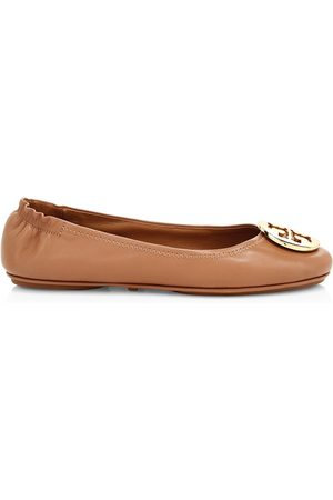 Tory Burch Women Ballerinas - Women's Minnie Leather Ballet Flats - Royal Tan - Size 12