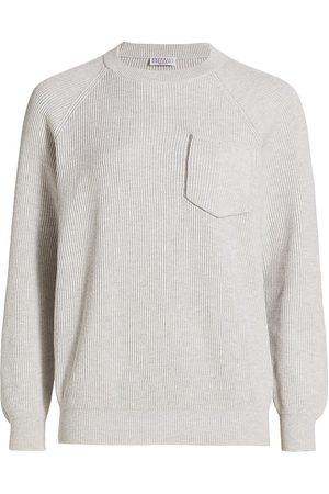 Brunello Cucinelli Women's Rib-Knit Sweater - Light Grey - Size XL