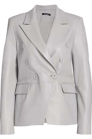 LaMarque Women Leather Jackets - Women's Catherine Leather Double-Breasted Blazer - Light Grey - Size 2