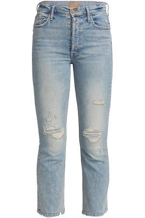 Mother Women High Waisted - Women's The Tripper Distressed High-Rise Crop Flare Jeans - Cut Flowers - Size 32