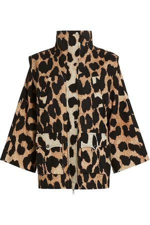 Ganni Women Sports Jackets - Women's Leopard-Print Canvas Jacket - Maxi Leopard - Size 6