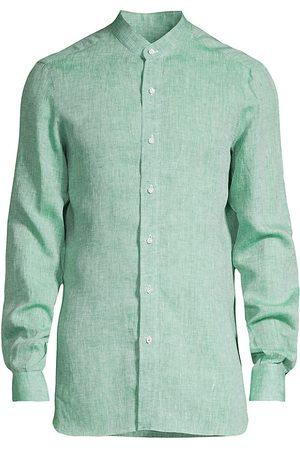 ISAIA Men's Banded-Collar Linen Sport Shirt - Teal - Size 18.5