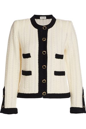 Saint Laurent Women Jackets - Women's Wool Knit Jacket - Natural Noir - Size XL
