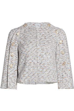 ST. JOHN Women's Binario Tweed Button Sleeve Jacket - Neutral Multi - Size 16