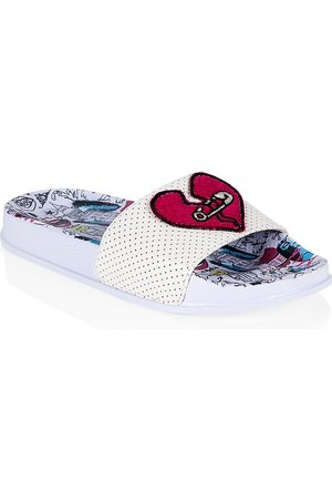 Ground Up x Cruella Girl's Heart-Applique Perforated Slide Sandals - - Size 1 (Child)