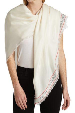 Alexander McQueen Women Scarves - Women's Blown Up Selve Logo Scarf - Ivory