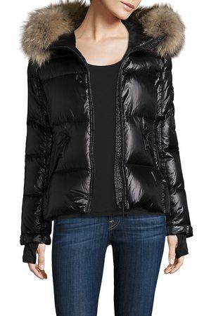 SAM. Women Puffer Jackets - Women's Blake Fur-Trim Puffer Coat - Jet - Size XS